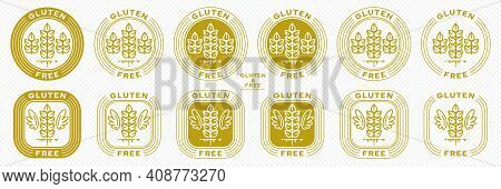 Set Of Conceptual Stamps For Packaging Products. Labeled - Gluten Free, Grain Protein Free. Round St