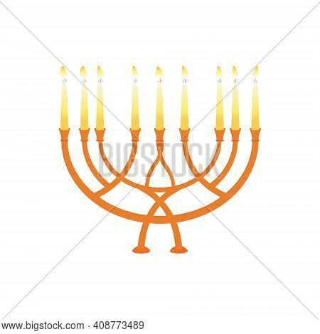 Vector Illustration Of Candlestick And Candelabra Candles In Vintage Style. Candles In Classic Candl