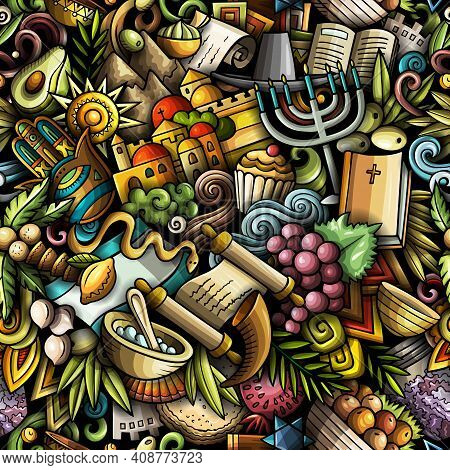 Cartoon Doodles Israel Seamless Pattern. Backdrop With Israeli Culture Symbols And Items. Colorful D