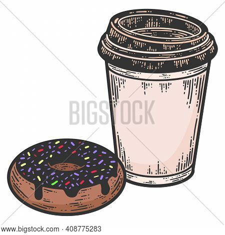 Set Of Takeaway Coffee And Donut. Sketch Scratch Board Imitation.