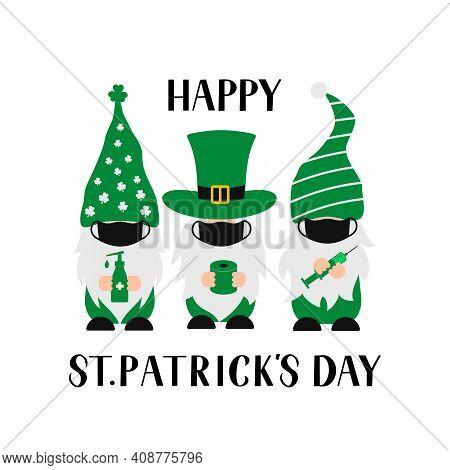 St. Patricks Day Gnomes. Quarantine Saint Patricks Day And Masked Gnomes. Pandemic Covid. Vector Tem