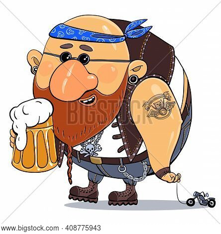 Vector Cartoon. Bright Print Illustration-parody. A Cheerful Funny Biker On Vacation With A Glass Of