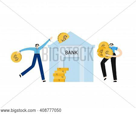 Investment Funds Concept. People Invest In The Bank, Increase Their Income. Vector Flat Illustration