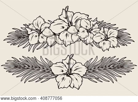 Tropical Floral Vintage Monochrome Composition With Beautiful Plumeria And Hibiscus Flowers And Palm