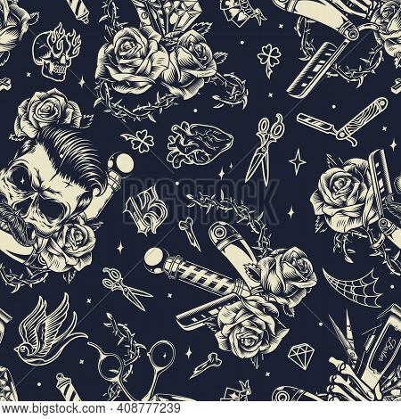 Vintage Monochrome Barbershop Seamless Pattern With Trendy Mustached Skull Diamonds Barber Pole Scis