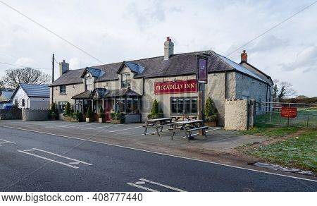 Caerwys, Flintshire; Uk: Feb 11, 2021: The Piccadilly Inn Dates From The 18th Century. The Pub Recei