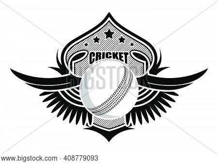 Sport Ball On Background Of Stylized Shield With Wings. Cricket  Sporting Emblems. Tournament Symbol