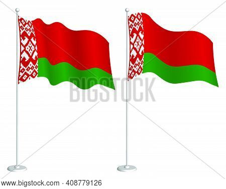 Flag Of Republic Of Belarus On Flagpole Waving In Wind. Holiday Design Element. Checkpoint For Map S