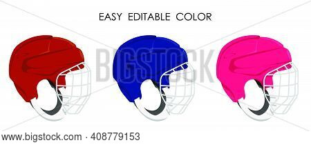 Open Hockey Helmet With Protective Grill Isolated On White Background. Ice Hockey Field Player Prote