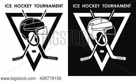 Symbol, Emblem Of Sports Sticks For Goalkeeper And Fielder, Black Rubber Puck And Hockey Helmet For