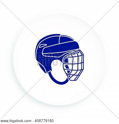 Sport Ice Hockey Helmet Icon With Protective Grill In Neomorphism Style For Mobile App. Sport Equipm