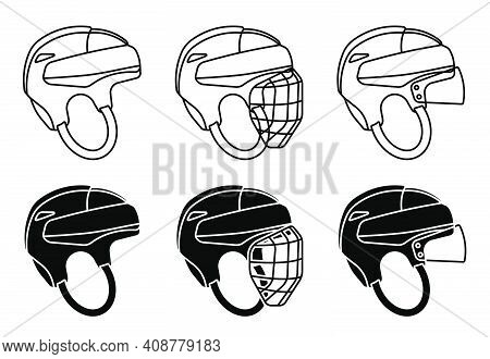 Open Hockey Helmet Icon, With Protective Grill And Transparent Visor. Ice Hockey Field Player Protec
