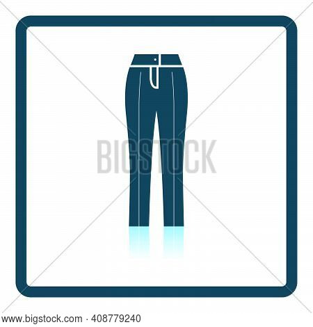 Business Woman Trousers Icon. Square Shadow Reflection Design. Vector Illustration.