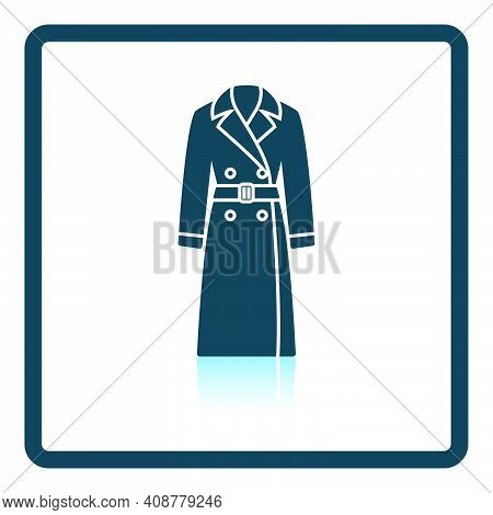 Business Woman Trench Icon. Square Shadow Reflection Design. Vector Illustration.