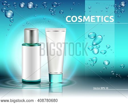 Hydration Cosmetics Packaging Product Mock Up. Shinny Water Splash Blue Effect. Bubbles Of Water On
