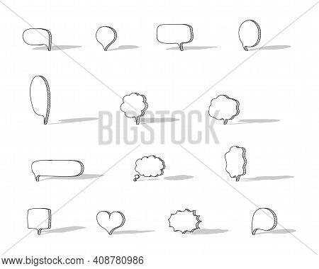Collection Set Of Blank Hand Drawn Speech Bubble Balloon With Shadow, Think Speak Talk Whisper Text