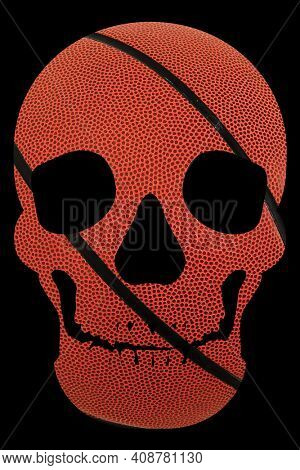 Basketball Texture Human Skull with Clipping Path Isolated on Black