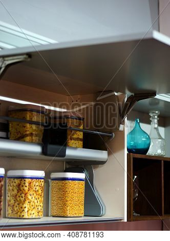 Close-up View Of Modular Kitchen Storge Cabinet ,interior Decoration