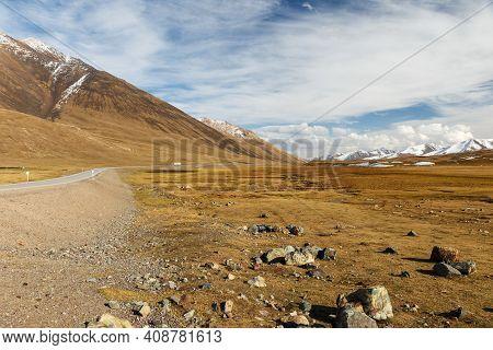 The Road To The Ala Bel Pass, Bishkek Osh Highway, Chuy Region In Kyrgyzstan