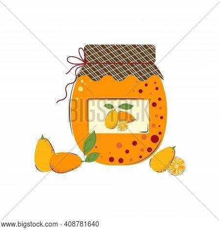 Jar Of Kumquat Jam. Homemade Jam From Fresh Berries.