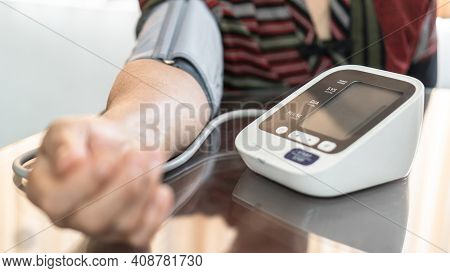 High Blood Pressure, Hypertension And Cardiovascular Disease In Aged Senior Older Elderly Woman With