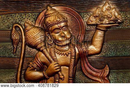 View Of Mural Or Wall Art Of Indian Hindu God Hanuman Carrying Sanjivini Hill As In Mythology