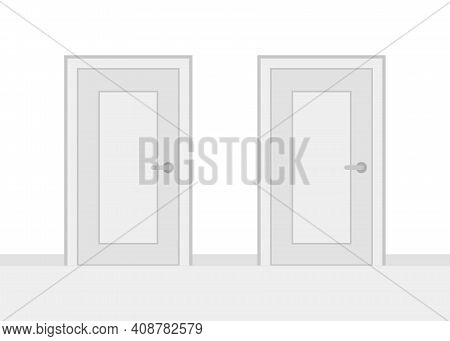 Two Closed Doors And Having Choice. Alternative Doorway In Front View. Choice Concept. Vector Illust