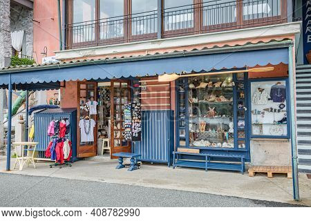 Porto Venere, Italy - October 2020: Cityscape. View Souvenir Shop In One Of Street Of Porto Venere T