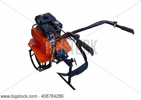 Photo Walk-behind Tractor, Cultivator On A White Background, Isolated Object