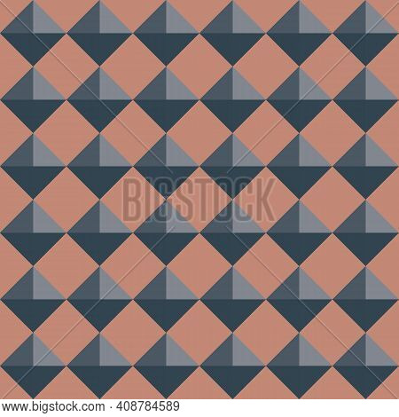 Vector 3d Pyramid Shaped Stud Seamless Pattern Background. Pink Blue Shaded Studded Diamond Triangle