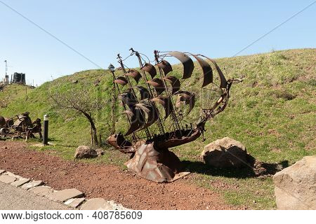 Qatsrin, Israel, February 13, 2021 : A Sailing Vessel Sculpture Made From Scrap Metal Left Behind By