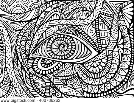 Shamanic Eye Psychedelic Trippy Coloring Page For Adult With Bizarre Ornaments Fantastic Background