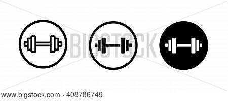 Dumbbell, Weights, Barbell, Sports Gym, Bodybuilding Icons Button, Vector, Sign, Symbol, Logo, Illus