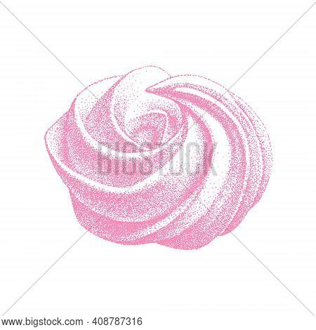 Airy French Meringue Pink, Marshmallow, Zefir. Graphic Vintage Retro Style. Sweetness, Sweet Cake, D