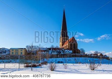 View To The Church Petrikirche In Rostock, Germany.