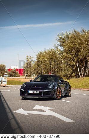 Kyiv, Ukraine - September 2019. Exclusive Sports Car Porsche 911 991 Turbo S Tuned By Topcar.