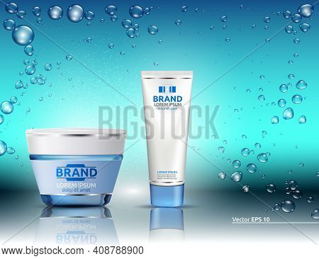 Water Hydration Cosmetics Packaging Product Mock Up. Shinny Blue Effect. Bubbles Of Water On Backgro