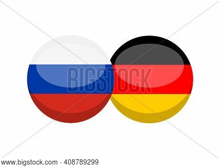 Russian And German Flag Isolated On White Background. Russian - Deutsch Conversation Concept. Learn