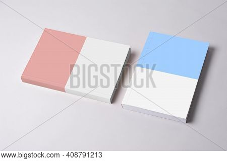 Two Closed Novel Book With Blank Cover On Table, Editable Mock-up Series Template Ready For Your Des