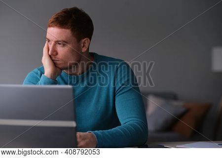 Handsome Depressed Man In Stressed From Work, Anxiety, Heartbroken And Men Health Care Concept