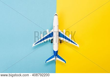 Abstract Runway With An Airplane Model. Template For Advertising Flights, Blogs About Airplanes And
