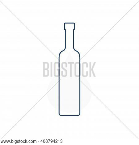 Modern Abstract Illustration With Bottle Vodka With Grey Blob. Linear Outline Sign. Logo Illustratio