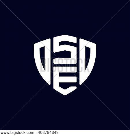 Initial Letter Se Logo Template With Geometric Shield Line Art Illustration In Flat Design Monogram