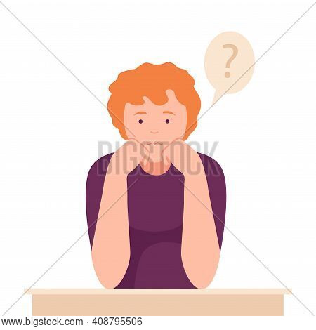 Female Sitting At Table With Pensive Face Expression Thinking And Considering Of Something Vector Il