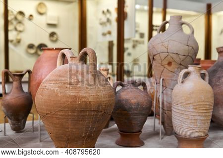 Sevastopol, Crimea - January 31, 2021: Ancient Greek Amphorae In The Interior Of The Museum Of Antiq