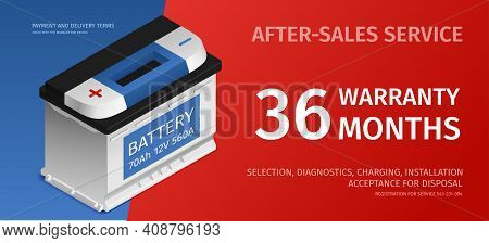 Car Battery Charging Recharging Warranty After Sales Auto Garage Shop Service Isometric Advertising