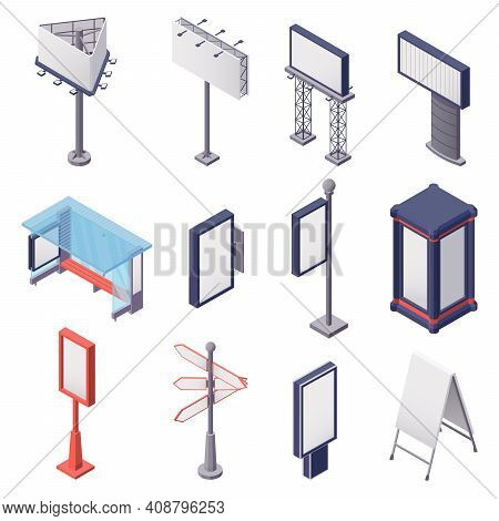 Isometric Set Of Various Blank Metal Constructions For Outdoor Advertising Isolated On White Backgro