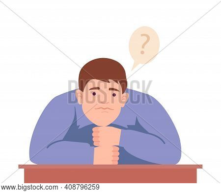 Male Sitting At Table With Pensive Face Expression Thinking And Considering Of Something Vector Illu