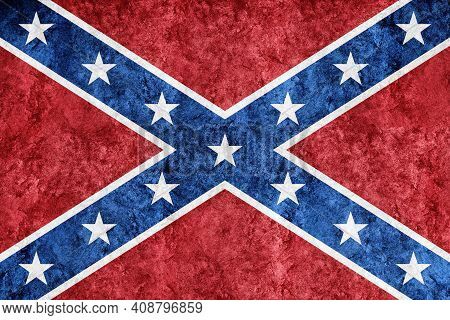 Confederate Metallic Flag, Textured Flag, Grunge Flag