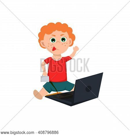 Naughty Boy Behavior. Clumsy Child Spilling The Tea On A Computer. Usual Situation In Childhood. Typ